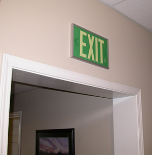 90.8924G-1-F - AddLight Photoluminescent Exit Signs tested & evaluated to the UL924 performance standard can be used instead of electrical signs